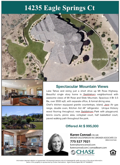 Eagle Springs Ct Reno NV Karen Conrad Reno Home